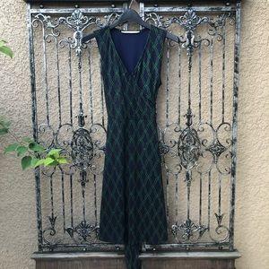 41 HAWTHORN navy blue green tie sleeveless dress